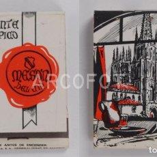 Cajas de Cerillas: ANTIGUA CAJA DE CERILLAS RESTAURANTE TIPICO MESON DEL CID - BURGOS - CALENDARIO 1970. Lote 254645090