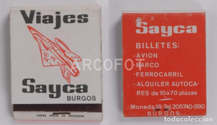 ANTIGUA CAJA DE CERILLAS VIAJES SAYCA - BURGOS (Coleccionismo - Objetos para Fumar - Cajas de Cerillas)