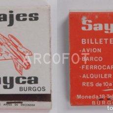 Cajas de Cerillas: ANTIGUA CAJA DE CERILLAS VIAJES SAYCA - BURGOS. Lote 254645585