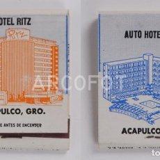 Cajas de Cerillas: ANTIGUA CAJA DE CERILLAS HOTEL RITZ - ACAPULCO - AUTO HOTEL RITZ - ACAPULCO. Lote 254646805