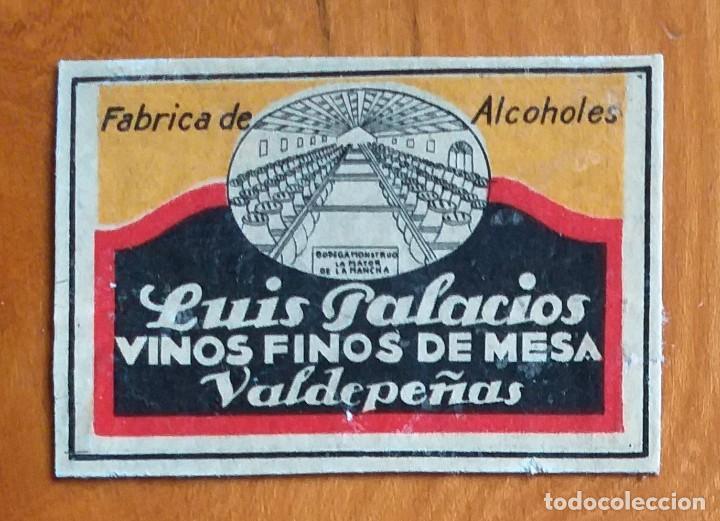 VINOS LUIS PALACIOS - VALDEPEÑAS - ANTIGUO CROMO PUBLICITARIO CAJAS CERILLAS AÑOS 20 (Coleccionismo - Objetos para Fumar - Cajas de Cerillas)