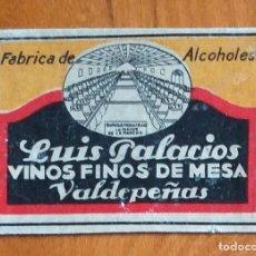 Cajas de Cerillas: VINOS LUIS PALACIOS - VALDEPEÑAS - ANTIGUO CROMO PUBLICITARIO CAJAS CERILLAS AÑOS 20. Lote 254939145