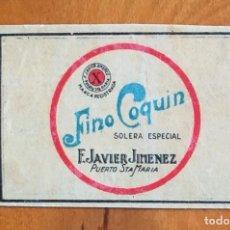 Cajas de Cerillas: FINO COQUIN - ANTIGUO CROMO PUBLICITARIO CAJAS CERILLAS AÑOS 20. Lote 254939765