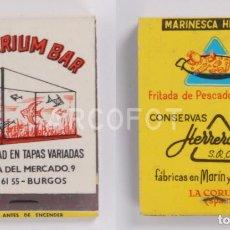 Cajas de Cerillas: ANTIGUA CAJA DE CERILLAS ACUARIUM BAR - BURGOS - CONSERVAS HERRERO - LA CORUÑA. Lote 255002400