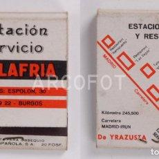 Cajas de Cerillas: ANTIGUA CAJA DE CERILLAS ESTACION SERVICIO VILLAFRIA - BURGOS. Lote 255003705