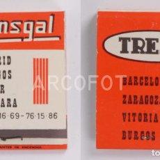 Cajas de Cerillas: ANTIGUA CAJA DE CERILLAS TRANSGAL - MADRID - BURGOS - EIBAR - VERGARA - TRESA. Lote 255004400