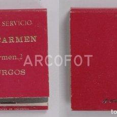 Cajas de Cerillas: ANTIGUA CAJA DE CERILLAS AUTO SERVICIO EL CARMEN - BURGOS. Lote 255590440