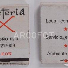 Cajas de Cerillas: ANTIGUA CAJA DE CERILLAS CAFETERIA X - LEÓN. Lote 255593205