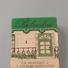 Cajas de Cerillas: RETRO CARTERITA CERILLAS BAR CAFETERÍA BELVEDERE, BARCELONA. Lote 257774275