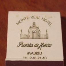 Cajas de Cerillas: RETRO ANTIGUA CARTERITA CERILLAS HOTEL MONTE REAL, PUERTA DE HIERRO , MADRID. Lote 260745995