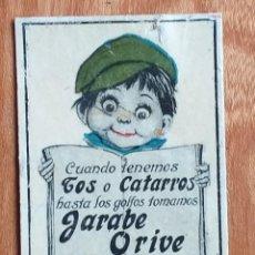 Cajas de Cerillas: JARABE ORIBE - ANTIGUO CROMO PUBLICITARIO CAJAS CERILLAS AÑOS 20. Lote 261592755