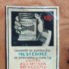 Cajas de Cerillas: POMADA MUSTEROLE - ANTIGUO CROMO PUBLICITARIO CAJAS CERILLAS AÑOS 20. Lote 261594175