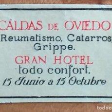 Cajas de Cerillas: GRAN HOTEL CALDAS DE OVIEDO - ANTIGUO CROMO PUBLICITARIO CAJAS CERILLAS AÑOS 20. Lote 262034690