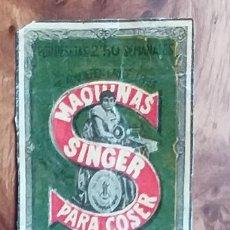Cajas de Cerillas: MAQUINA DE COSER SINGER - ANTIGUO CROMO PUBLICITARIO CAJAS CERILLAS AÑOS 20. Lote 262041565
