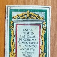 Cajas de Cerillas: ICP CONCESIONARIA - MADRID - ANTIGUO CROMO PUBLICITARIO CAJAS CERILLAS AÑOS 20. Lote 262042060