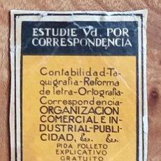 Cajas de Cerillas: ACADEMIA COTS - BARCELONA - ANTIGUO CROMO PUBLICITARIO CAJAS CERILLAS AÑOS 20. Lote 262239110