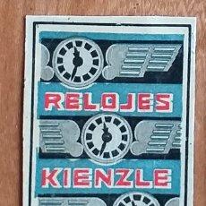 Cajas de Cerillas: RELOJES KIENZLE - ANTIGUO CROMO PUBLICITARIO CAJAS CERILLAS AÑOS 20. Lote 264191300