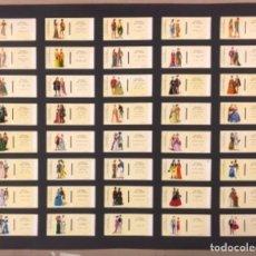 Cajas de Cerillas: LÁMINA CON 40 TAPAS CERILLAS COLECCIÓN HISTORIA DEL VESTIDO (SERIE COMPLETA). FOSFORERA ESPAÑOLA.. Lote 265187094