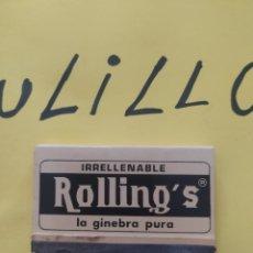 Cajas de Cerillas: CAJA DE CERILLAS IRRELLENABLE ROLLING'S LA GINEBRA PURA. Lote 267462314
