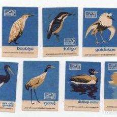 Cajas de Cerillas: 7 ETIQUETAS TAPAS DE CAJAS CERILLAS * LITUANIA PAJAROS. Lote 269833008