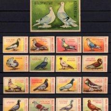 Cajas de Cerillas: 17 ETIQUETAS TAPAS DE CAJAS CERILLAS * RUSIA PALOMAS. Lote 269833143