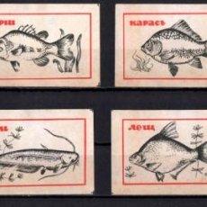 Cajas de Cerillas: 8 ETIQUETAS TAPAS DE CAJAS CERILLAS * RUSIA PECES. Lote 269833443