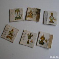 Cajas de Cerillas: LOTE 6 CAJA CERILLAS AÑOS 60 RELOJES ANTIGUOS. Lote 274282938