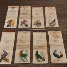 Cajas de Cerillas: LOTE DE 8 CAJAS DE CERILLAS SERIA AVES. Lote 276261443