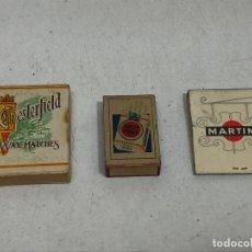 Cajas de Cerillas: LOTE 3 CAJAS DE CERILLAS / FOSFOROS ANTIGUAS PUBLICIDAD TABACO / LICORES. Lote 278586963