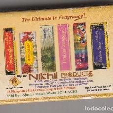 Cajas de Cerillas: CAJA DE CERILLA. PRODUCTO NIKHIL. 'SANDALWOOD. CON CERILLAS. 4.50 *3.00 CM.. Lote 286360023