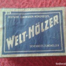 Cajas de Cerillas: CAJA FÓSFOROS MATCHBOX BOÎTE D´ALLUMETTES WELT-HÖLZER DEUTSCHE ALEMANIA GERMANY VER FOTOS Y DESCRIPC. Lote 287865698