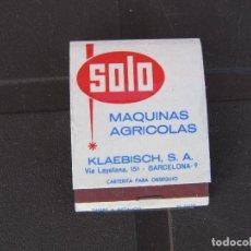 Cajas de Cerillas: SOLO MAQUINAS AGRICOLAS AZADA MOTORIZADA-KLAEBISCH S.A BARCELONA-COMPLETA. Lote 288112233