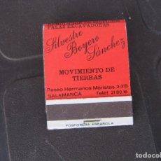 Cajas de Cerillas: SILVESTRE BOYERO SANCHEZ MOVIMIENTO DE TIERRAS SALAMANCA-COMPLETO. Lote 288114253
