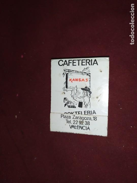 ANTIGUAS CERILLAS ANTIGUA CAFETERIA KANSAS PLAZA ZARAGOZA 18 VALENCIA (Coleccionismo - Objetos para Fumar - Cajas de Cerillas)