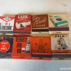 Cajas de Cerillas: LOTE DE 8 CAJAS DE CERILLAS DE MARCAS DE TABACO Y BEBIDAS AÑOS 60-70. Lote 293434968