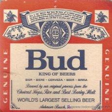 Coleccionismo de cervezas: POSAVASOS DE CERVEZA AMERICANA BUD.. Lote 3597860