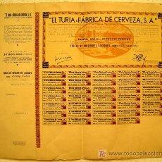 Coleccionismo de cervezas: ACCION CERVEZA CERVEZAS EL TURIA , 1959 , VALENCIA , SIN RELLENAR , CON CUPONES , GRANDE ,ORIGINAL. Lote 101637964