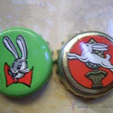 Coleccionismo de cervezas: 2 CHAPAS CERVEZA LOTE FIGURAS DE CONEJOS.------LOTE N. 217------ CARMANJO. Lote 14301111