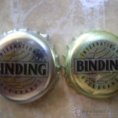 Coleccionismo de cervezas: 2 CHAPAS (DIFERENTES,COLOR PLATA-COLOR DORADO) CERVEZA BINDING-ALEMANIA.----LOTE N. 143-----CARMANJO. Lote 14371906