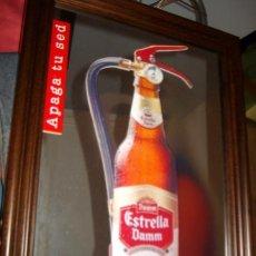 Coleccionismo de cervezas: ESPEJO LITOGRAFIADO PUBLICITARIO ** ESTRELLA DAMM ** (EMMARCADO) - 40X30 CM.. Lote 99122362
