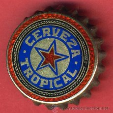 Coleccionismo de cervezas: CHAPA CERVEZA TROPICAL ,CUBA, ESMALTE Y ORO, LEER DESCRIPCION , ORIGINAL ANTIGUA CORCHO, CH337, RB. Lote 22955727