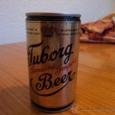 Coleccionismo de cervezas: LATA BOTE CERVEZA TUBORG BEER. LATERAL SOLDADO Y DOBLE TAPA. AÑOS 80.. Lote 27542782