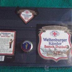 Coleccionismo de cervezas: ETIQUETAS Y CHAPA-WELTENBURGER-GERMANY. Lote 28270784