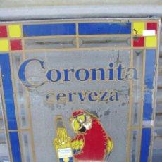 Coleccionismo de cervezas: RARA PUBLICIDAD DE LA CERVEZA CORONITA LA CERVEZA DE MEXICO - CRISTAL ENMARCADO CON PLOMO. Lote 29363272