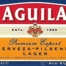 Coleccionismo de cervezas: ETIQUETA CERVEZA AGUILA. Lote 29311092