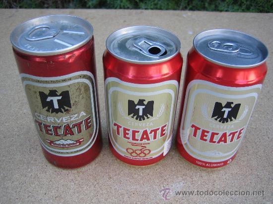3 LATAS - BOTES DE CERVEZA DIFERENTES. TECATE. MÉXICO (Coleccionismos - Cerveza )