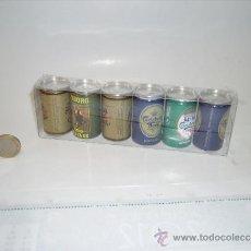 Coleccionismo de cervezas: BONITA CAJA EXPOSITORA CON 6 LATITAS DE CERVEZA EN MINIATURA. Lote 32066570