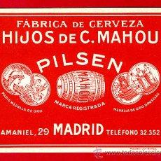 Coleccionismo de cervezas: ETIQUETA CERVEZA, CERVEZAS MAHOU MADRID , ANTIGUA, PAPEL , ORIGINAL RB. Lote 37352716