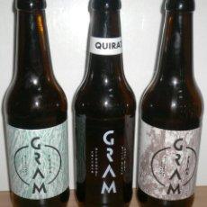 Coleccionismo de cervezas: LOTE DE TRES BOTELLAS GRAM. CERVEZA ARTESANAL VACÍAS Y SIN CHAPA. . Lote 39993237
