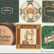Coleccionismo de cervezas: 6 POSAVASOS CERVEZAS ESPAÑOLAS. Lote 40155792